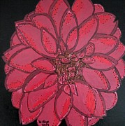 Painted Glass Art - Raspberry Dazzled Dahlia  by Wendy Blye
