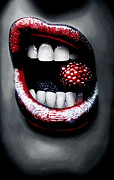 Mouth Drawings Posters - Raspberry Poster by Kalie Hoodhood