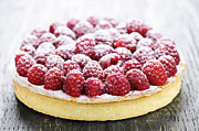 Fresh Food Framed Prints - Raspberry tart Framed Print by Elena Elisseeva