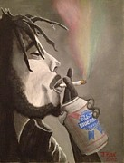 Smoke Painting Originals - Rasta Pabst by J Kae