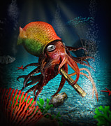 Under The Ocean  Digital Art Metal Prints - Rasta Squid Metal Print by Alessandro Della Pietra