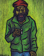 Green Grass Pastels Originals - Rastafarian by Kamil Swiatek