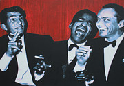 Frank Sinatra Paintings - Rat Pack by Luis Ludzska