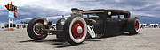 Lowrider Digital Art - Rat Rod on Route 66 Panoramic by Mike McGlothlen