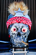 Hot Rod Car Prints - Rat Rod Skull Hood Ornament 2 Print by Jill Reger