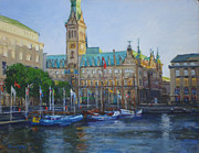 Hamburg Painting Prints - Rathaus Print by Joan Coffey