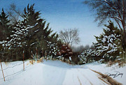 Snow Scene Painting Originals - Rattlesnake Road by Denny Dowdy