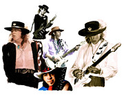 Guitar Hero Metal Prints - RAVE ON  Stevie Ray Vaughan Metal Print by Iconic Images Art Gallery David Pucciarelli