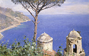 Sea Shore Framed Prints - Ravello Framed Print by Peder Monsted