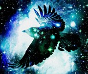 Galaxy Mixed Media Prints - Raven Print by Anastasiya Malakhova