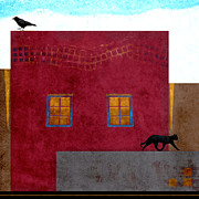 Geometrical Digital Art Posters - Raven and Cat Poster by Carol Leigh