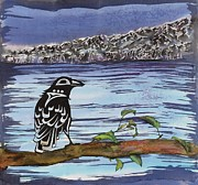 Animals Tapestries - Textiles - Raven and Ice by Carolyn Doe