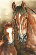 Wild Horses Painting Prints - Raven and Robin of Sand Wash Basin Print by Linda L Martin