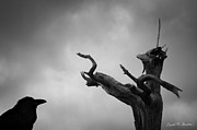 Wildlife Sculpture Acrylic Prints - Raven and Shamanic Tree  Acrylic Print by Dave Gordon