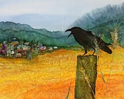 Birds Tapestries - Textiles Prints - Raven and the Village 2 Print by Carolyn Doe