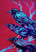 Bird Of Prey Art Paintings - Raven by Derrick Higgins