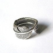Ring Jewelry - Raven Feather Bypass Ring cast in Solid Sterling Silver by Michael  Doyle