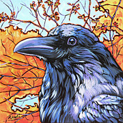 Nadi Spencer Metal Prints - Raven Head Metal Print by Nadi Spencer