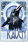 Sassan Filsoof Framed Prints - Raven Illustration Framed Print by Sassan Filsoof