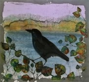 Animals Tapestries - Textiles Metal Prints - Raven in Colored Leaves Metal Print by Carolyn Doe