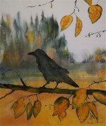 Birds Tapestries - Textiles Prints - Raven In Orange Birch Print by Carolyn Doe