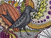 Raven Drawings Prints - Raven - Inspecting the Harvest Print by Sherry Goeben