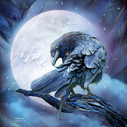 Animal Mixed Media Metal Prints - Raven Moon Metal Print by Carol Cavalaris