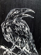 Bird On Tree Painting Prints - RAVEN on the BRANCH - oil painting Print by Fabrizio Cassetta