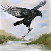 Jewelry Originals - Raven Stealing Time by Eve McCauley