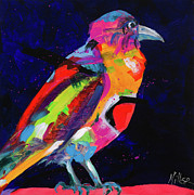 Crows Paintings - Raven by Tracy Miller