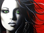 Green Eyes Prints - Raven Vixon Print by Christian Chapman Art