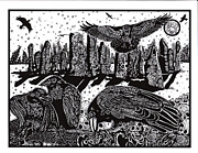 Crows Paintings - Ravens at Standing Stones by Judy Moon