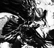 Wings Artwork Mixed Media Prints - Ravens Dream - Black And White Contrast Art Print by Sharon Cummings
