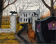Haunted Mansion  Paintings - Ravens Estate by Margaryta Yermolayeva