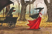 Fantasy Tree Art Paintings - Ravens Halloween Carriage by Margaryta Yermolayeva