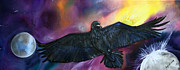 Silk Paintings - Ravens Journey by Judy Swircenski
