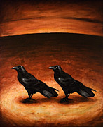 Crows Painting Posters - Ravens Poster by Mark Zelmer
