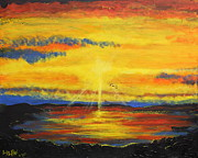 Sun Rays Painting Originals - Ravens Sunset Flight by Stefan Duncan