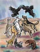 Dawn Pastels Framed Prints - Ravens Teasing Desert Dogs Framed Print by Dawn Senior-Trask