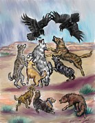 Dawn Pastels Framed Prints - Ravens Teasing Dogs II Framed Print by Dawn Senior-Trask