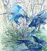 Black Bird.flying Art Paintings - Ravens Wood by Trudi Doyle