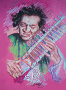 Featured Pastels Framed Prints - Ravi Shankar Framed Print by Melanie D