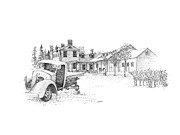 Vineyard Landscape Drawings Prints - Ravine Winery Print by Steve Knapp