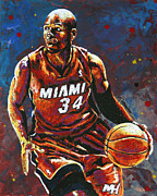 Miami Heat Painting Prints - Ray Allen Print by Maria Arango