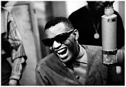 Music Studio Prints - Ray Charles in the Studio Print by Sanely Great