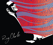 Sassan Filsoof Posters - Ray Charles jazz digital illustration print poster  Poster by Sassan Filsoof