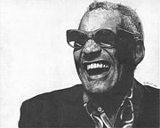 Blues Drawings - Ray Charles by Jeff Ridlen