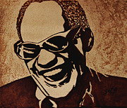 Singer  Paintings - Ray Charles original coffee painting by Georgeta  Blanaru