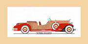 Photography Drawings Metal Prints - Ray Dietrich Packard Victoria Roadster concept design Metal Print by Jack Pumphrey