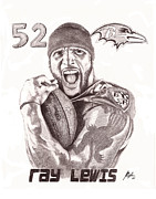 Baltimore Drawings Originals - Ray Lewis by Jason Bylsma